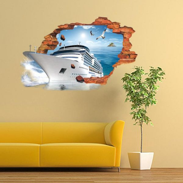 Creative steamer shipping 3D wall decal Removable waterproof wall ...