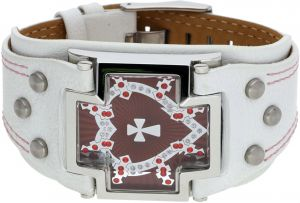 Police Women Leather Bracelet White and Silver and Red Glory - PJ25547BLW-02