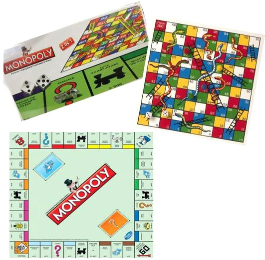 Generic 2 In 1 Monopoly And Snakes Ladders Board Game