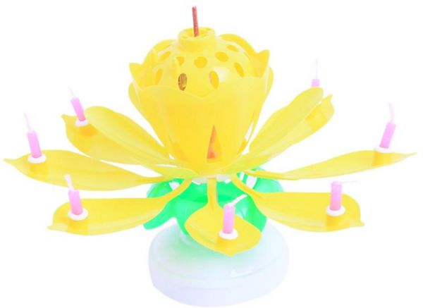 Creative Sparkling Birthday Candle Singing Double Layer Rotating Lotus Dish Cake Yellow