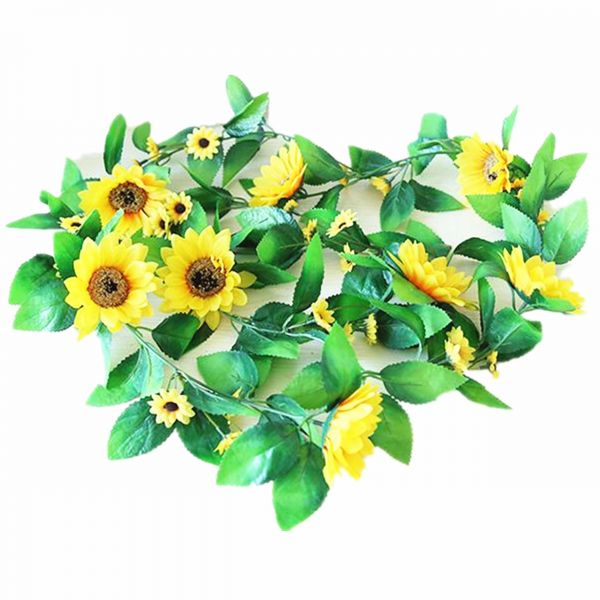 Artificial Flowers Silk Sunflowers Vine Hanging Garland Wedding