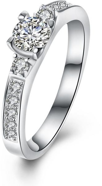 925 Sterling Silver Crystal Engagement Rings Best Promise Rings