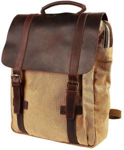 89a9ada56e Travables 15.6 inches Laptop Bag Vintage Canvas Leather Backpack Casual  Daypack Retro Rucksack for Men Women Work Campus Outdoor Sports