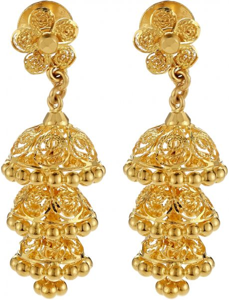 earrings layered fancy jhumka pin jhumkas gold