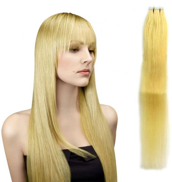 Natural Human Hair Tape Extensions 24inch Blonde Wigs