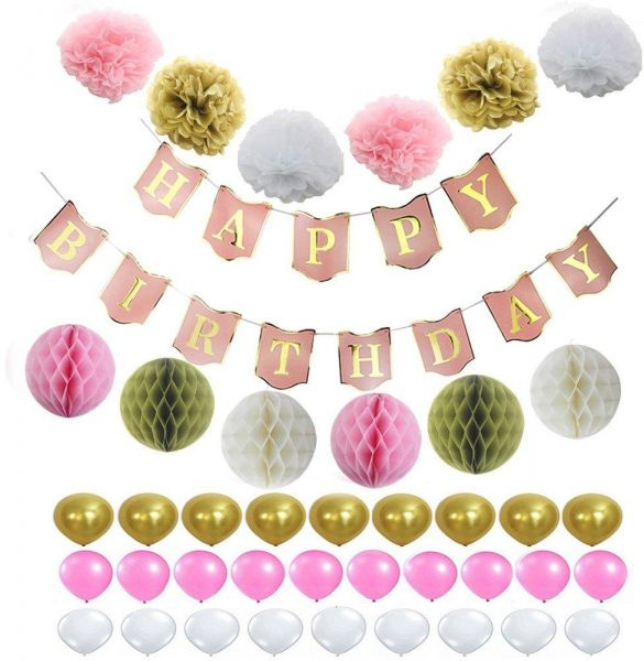 40 Pics Several Patterns Happy Birthday Banner Tissue Paper Flowers Pom Poms Set Wedding Party Festival Decoration