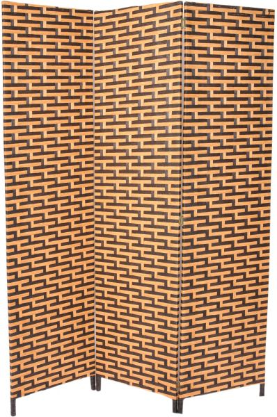 Zena Synthetic Fabric Black and Brown Foldable Room Divider 180 cm
