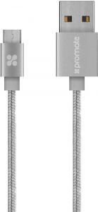 387757ad5 Promate linkMate-U2M Mesh-Armored Micro-USB Sync Charge Cable for Samsung  LG HTC Nokia Motorola Silver