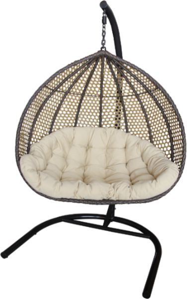 2 Person Brown Rattan Swing Chair