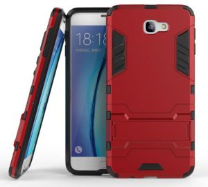 Samsung J7 Prime Iron Man Armor Protective Cover Two-In-One Bracket Case - Red