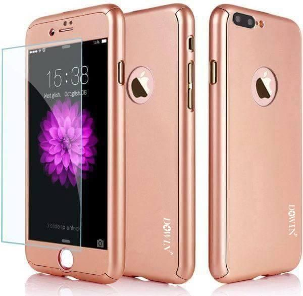 DOWIN 360 Degree Full Body Phone Case Hybrid Front Back Cover FOR IPHONE  8PLUS ROSE GOLD