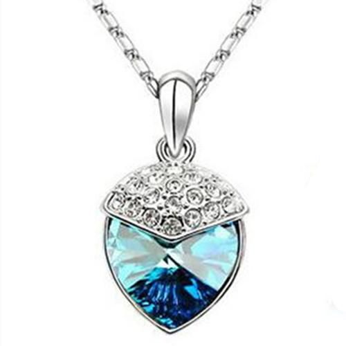 22a81f99d Blue Heart Necklace Earring Set Swarovski Elements Crystals Silver ...