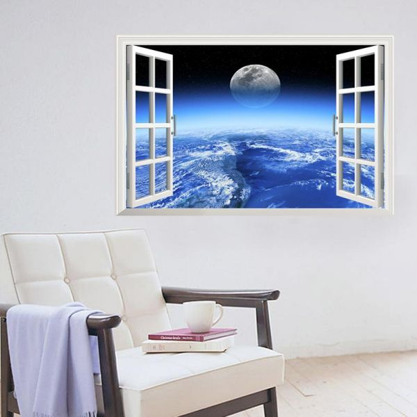 3d window outer space large planet wall stickers for kids rooms