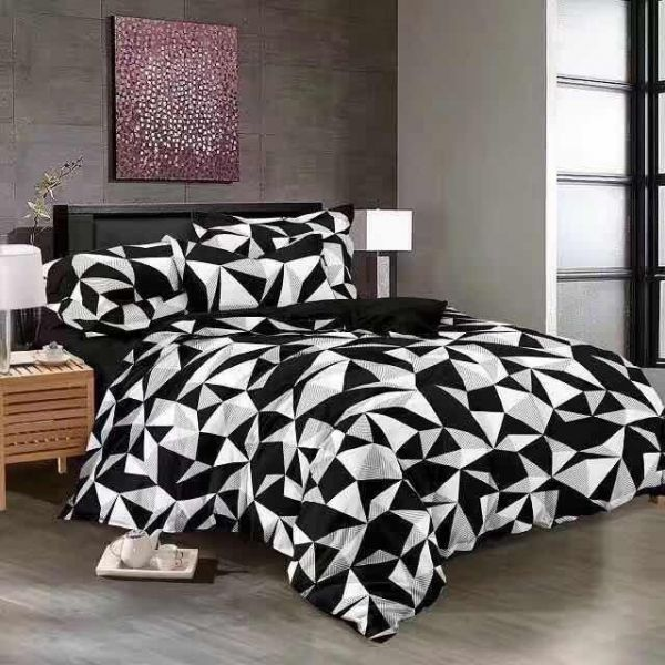 King Size, Cotton,Graphic Pattern, Black   Bed Sheets