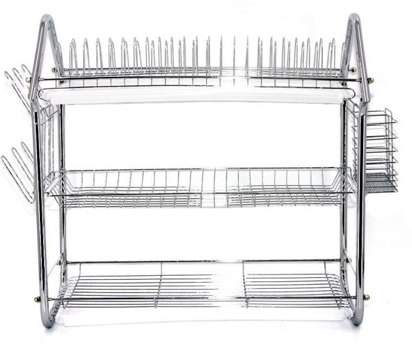 bb01b802e186 3-tier Stainless Steel Dish Drainer Drying Rack Kitchen Storage Organization