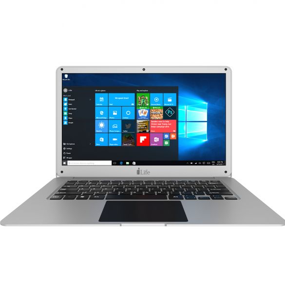 i-Life ZedAir H2O Laptop -Intel Celeron Apollo Lake N3350, 14-Inch, 500GB + 32GB, 3GB, Eng-Arb-KB, Windows 10, Silver + Microsoft Office 365 Personal