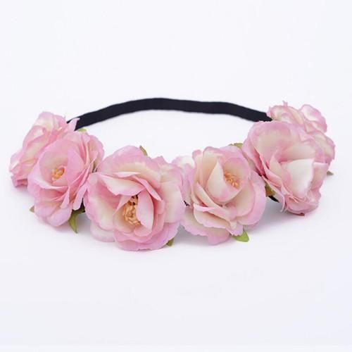 Womens Flower Crown Festival Hair Wreath Floral Headband Pink 3139