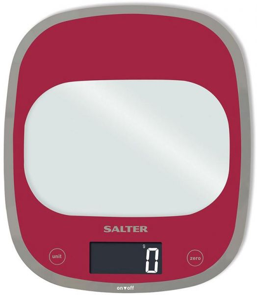 Salter 1050 Rddr Curve Glass Electronic Digital Kitchen Scale   Pink