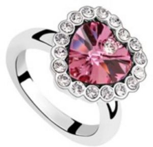 Swarovski Elements 18K White Gold Plated Ring encrusted with Fuschia Swarovski Crystals, SWR-465