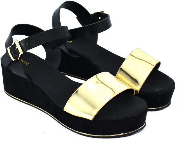 438d53a672d8b4 Buy Nose Black   Gold Wedge Sandal For Women in Saudi Arabia