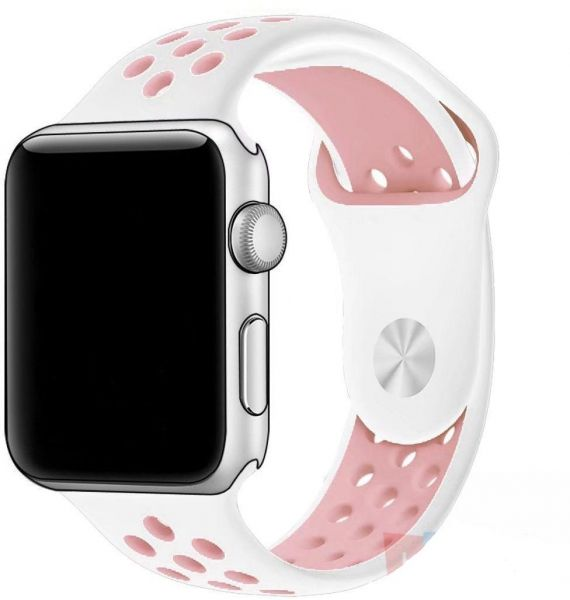 bb92748af9d3f Soft Silicone Replacement Strap Sport Band Strap For Apple Watch 42mm White  and Pink