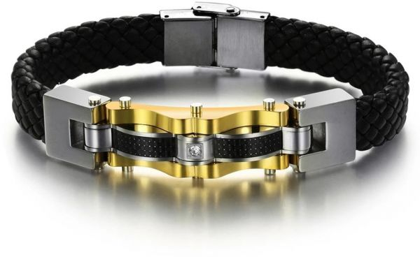 Personality Mens Leather Bracelet Gold