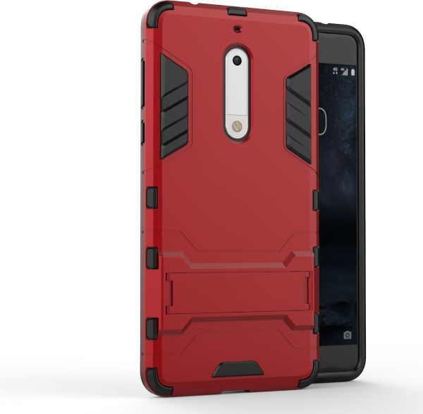 pretty nice bb17f ed200 Nokia 5 Hard Shockproof Hybrid Armor Stand Phone Case Cover Red