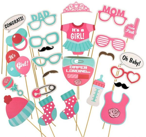 It Is A Girl Photo Booth Props Diy Kits Baby Shower Girl Party