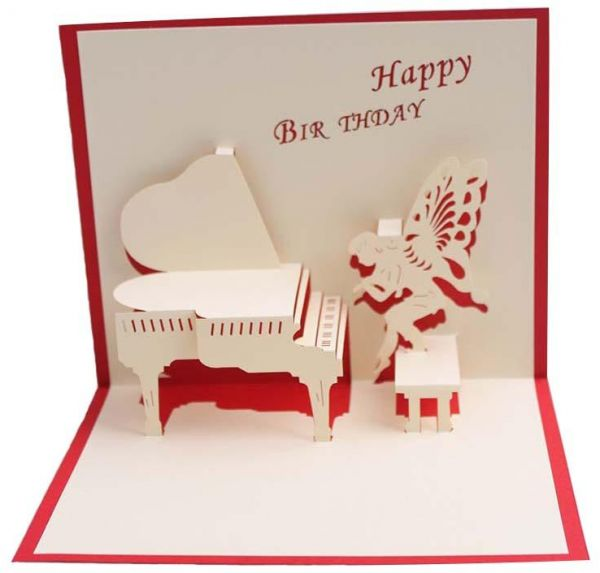 Happy birthday postcard greeting gift cards blank paper 3d piano happy birthday postcard greeting gift cards blank paper 3d piano handmade pop up laser cut stereoscopic greeting card m4hsunfo