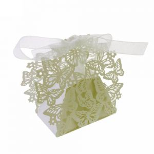 50pcs Laser Cut Flower Butterfly Wedding Birthday Party Candy Box Baby Shower Favor Gift Boxes Bags Ivory Color
