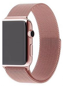 91c18636f Stainless Steel Band Strap with Screen Protector for 38mm Apple Watch, Rose  Gold