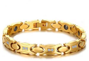 Anium Cz Thin Magnetic Therapy Bracelet For Women Lady Gift Gold Plated Adjule