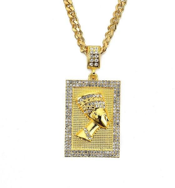 Buy gold plated stainless steel egypt nefertiti unisex hip hop gold plated stainless steel egypt nefertiti unisex hip hop crystals pendant necklace mozeypictures Choice Image