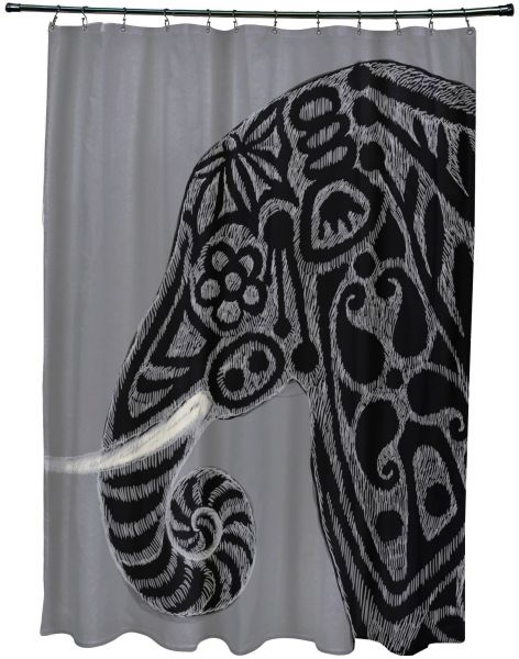 E By Design SCAN378GY2 Inky Animal Print Shower Curtain 71 X 74 Gray