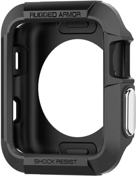 best service 38626 d78fb Spigen Apple Watch 42mm Series 3 / Series 2 / 1 Rugged Armor Cover / Case -  Black