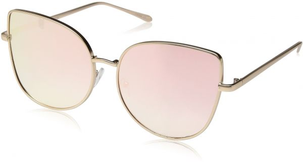 dfdfb96522 Buy zeroUV Women s Oversize Slim Metal Frame Colored Mirror Flat ...