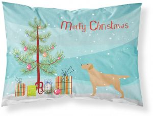 carolines treasures bb2915pillowcase yellow labrador retriever merry christmas tree fabric pillowcase standard multicolor - Labrador Outdoor Christmas Decoration
