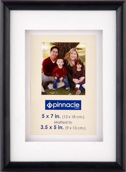 Pinnacle Frames Black Airfloat Frame With White Mat 5x7 Black 06p341