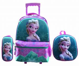 40cfdcc0087eb FROZEN 3PCS ONE SET 3D TROLLEY SCHOOL BAG FOR KIDS pink
