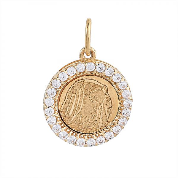 Buy kyra womens 18k yellow gold cubic zirconia mother mary pendant kyra womens 18k yellow gold cubic zirconia mother mary pendant 18k yellow gold aloadofball Image collections