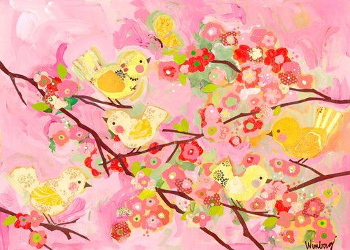 Souq | Oopsy Daisy Cherry Blossom Birdies Pink and Yellow by Winborg ...
