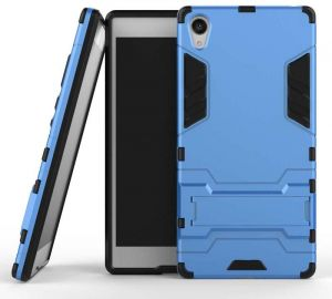 Sony Xperia Z5 Premium -Hard Shockproof Hybrid Armor Stand Phone Case Cover Light Blue