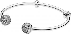 1c9e9540b7c Pandora Women's Moments Sterling Silver Open Bangle with Pave Caps -  596438CZ-1
