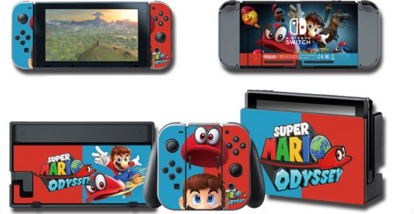 d36ebd1887 Super Mario Odyssey Skin Sticker For Nintendo Switch Console with ...