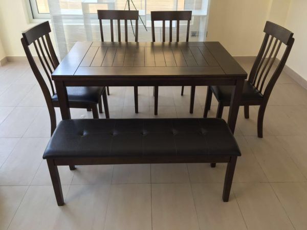 Dining Table 4 Sitter With Chairs And Bench Brown Souq Uae