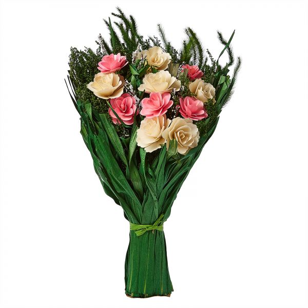 Artificial Pink And White Rose Flowers With Green Bouquet