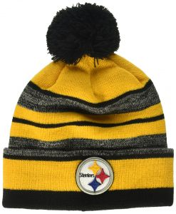 ed7621dd4 OTS NFL Pittsburgh Steelers Huset Cuff Knit Cap with Pom, Black, One Size