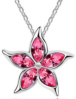 crystal pendant necklace pink
