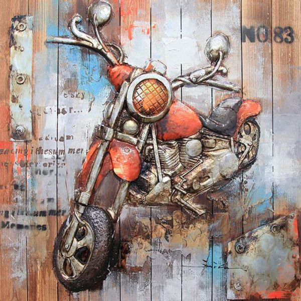Motorcycle-3D Wood Painting Creative Classic Unique