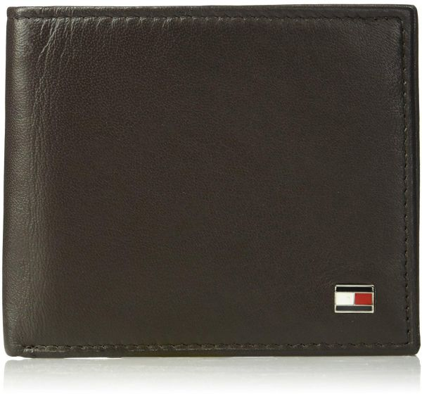 d753f23f43d Tommy Hilfiger Men s Leather Oxford Slimfold Wallet Brown   Bags ...